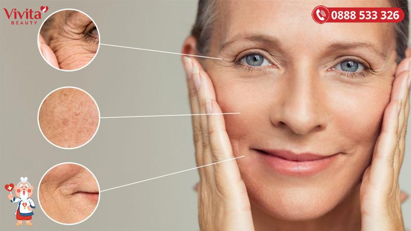 PHA tăng sản sinh collagen, tăng phân bào và chống tăng sắc tố